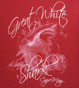 Image of a great white shark emerging from smoke on a red background